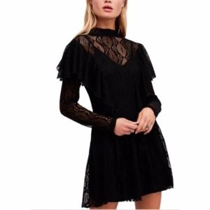 Free People Long Sleeve Ruffle Lace Dress XS